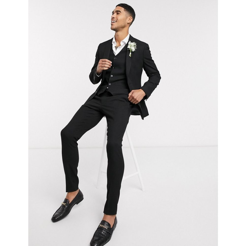 エイソス ASOS DESIGN メンズ スラックス ボトムス・パンツ【wedding super skinny suit trousers in micro texture in black】Black