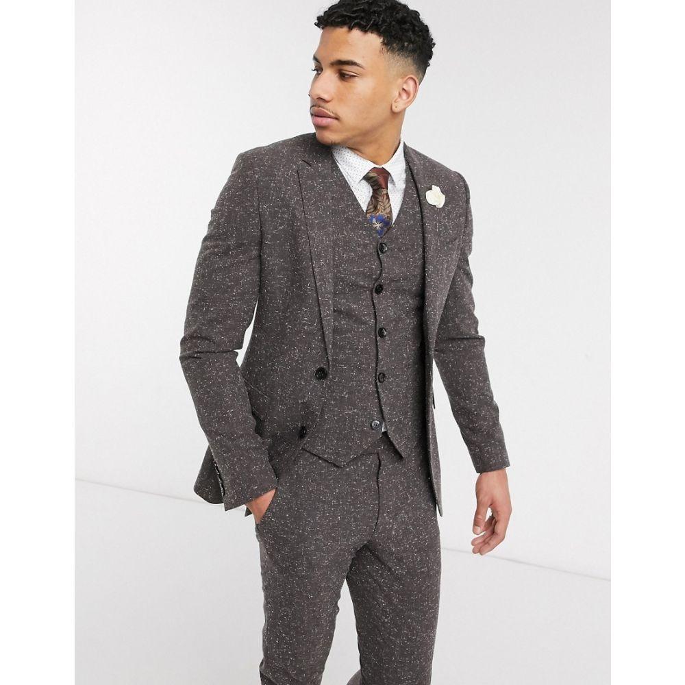 エイソス ASOS DESIGN メンズ スーツ・ジャケット アウター【wedding super skinny suit jacket in charcoal nepp texture】Grey
