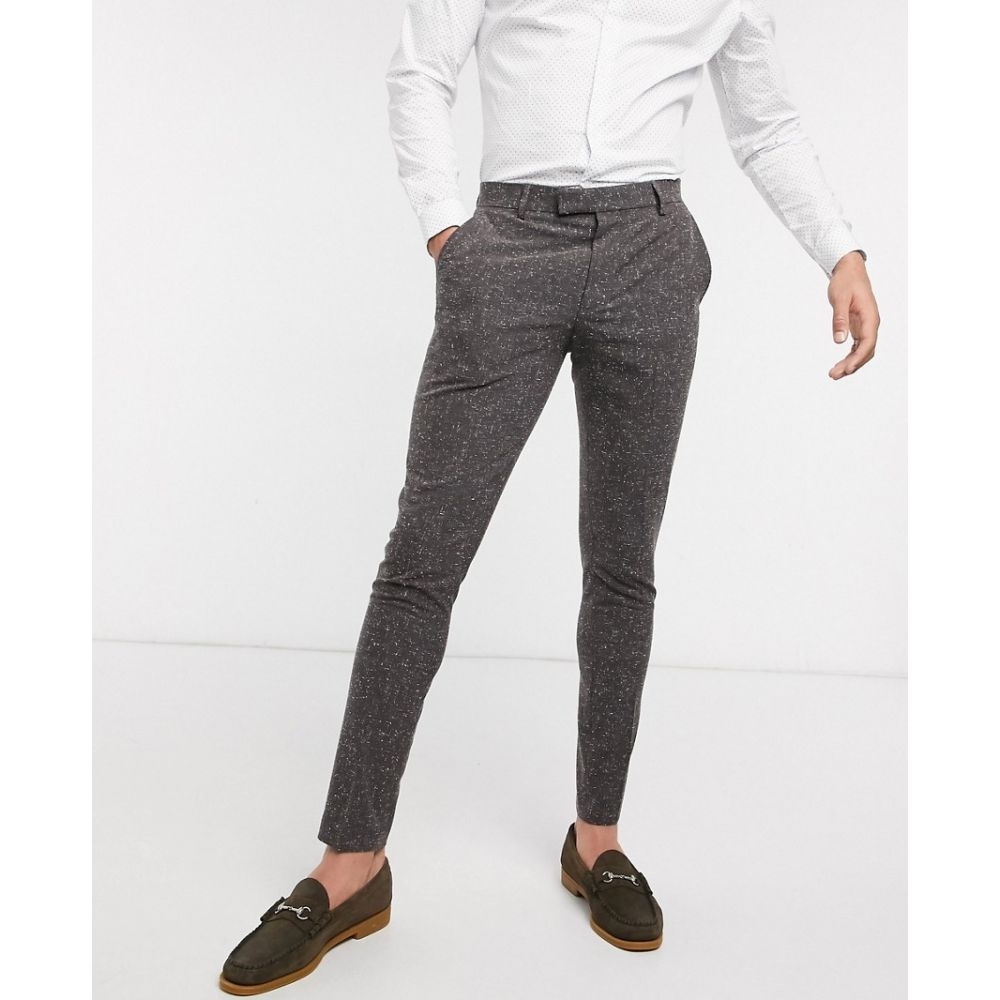 エイソス ASOS DESIGN メンズ スラックス ボトムス・パンツ【wedding super skinny suit trousers in charcoal nepp texture】Grey