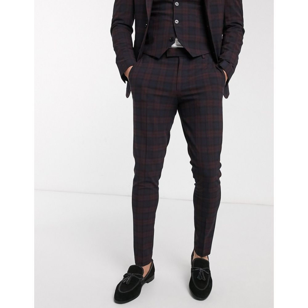 エイソス ASOS DESIGN メンズ スラックス ボトムス・パンツ【wedding super skinny suit trousers in burgundy tartan】Burgundy