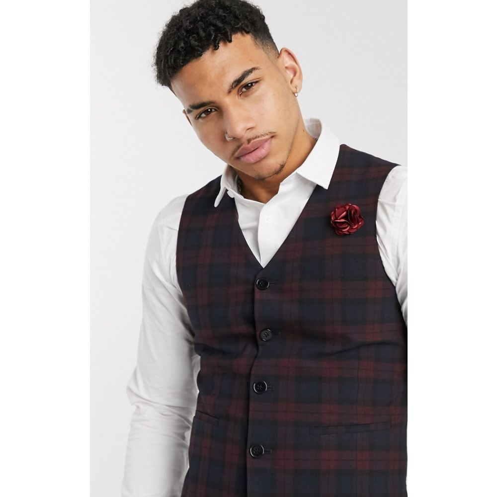 エイソス ASOS DESIGN メンズ ベスト・ジレ トップス【wedding super skinny suit waistcoat in burgundy tartan】Burgundy