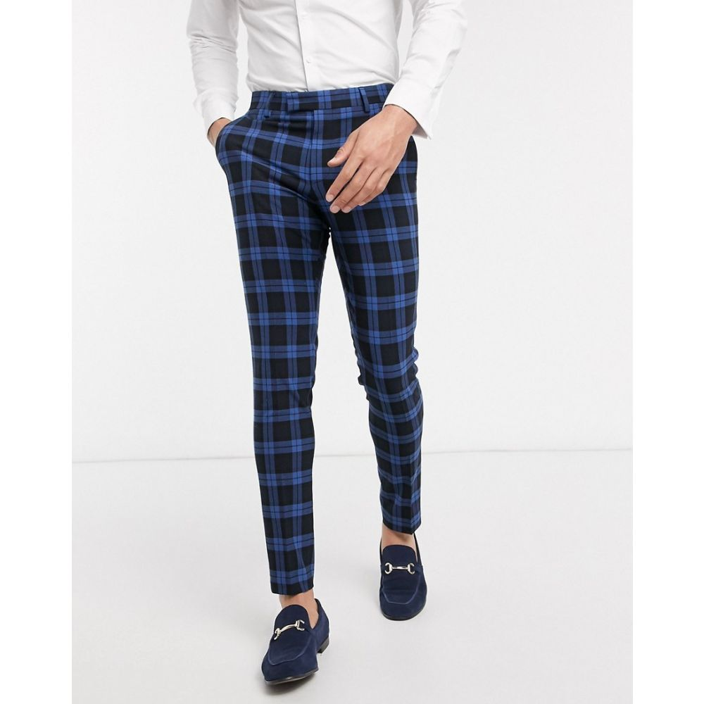 エイソス ASOS DESIGN メンズ スラックス ボトムス・パンツ【wedding super skinny suit trousers blue highlight tartan】Blue
