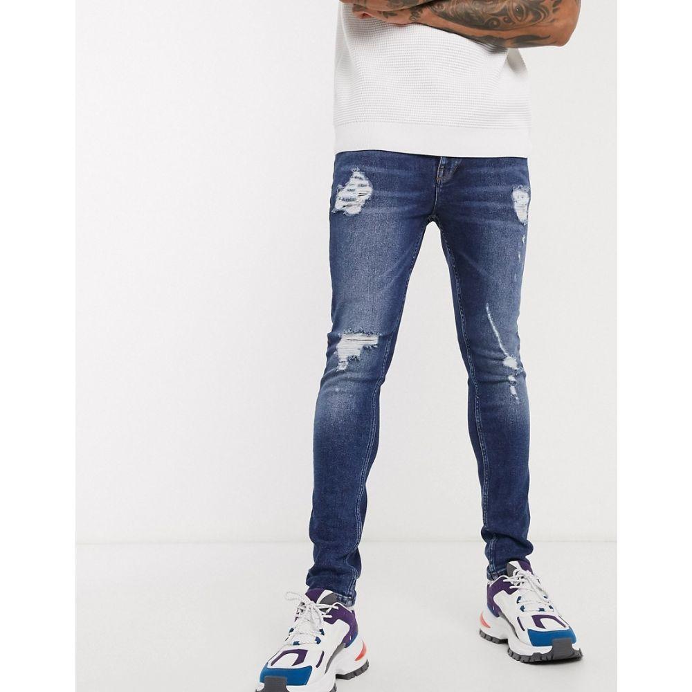 エイソス ASOS DESIGN メンズ ジーンズ・デニム ボトムス・パンツ【super skinny jeans in vintage dark wash blue with heavy rips】Dark wash blue