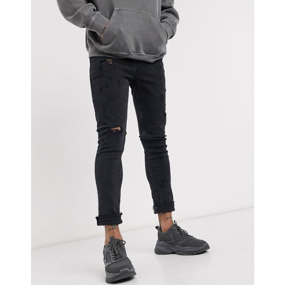 エイソス ASOS DESIGN メンズ ジーンズ・デニム ボトムス・パンツ【super skinny jeans in washed black with mid rips】Washed black