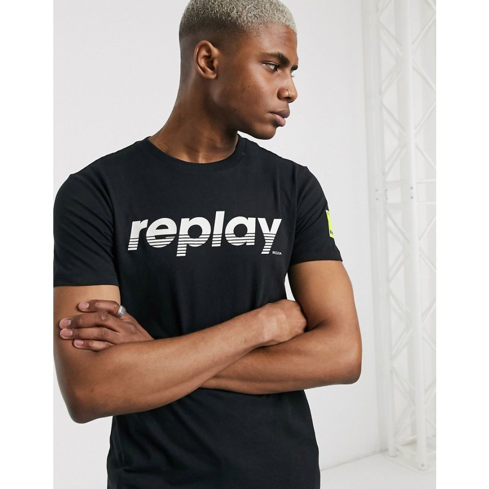 リプレイ Replay メンズ Tシャツ トップス【front logo crew neck t-shirt in black】Black