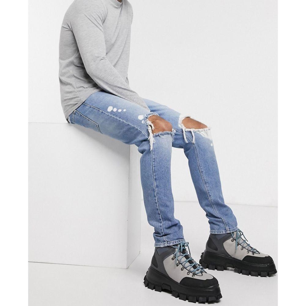 エイソス ASOS DESIGN メンズ ジーンズ・デニム ボトムス・パンツ【drop crotch jeans in mid wash blue with heavy rips and bleach details】Mid wash blue