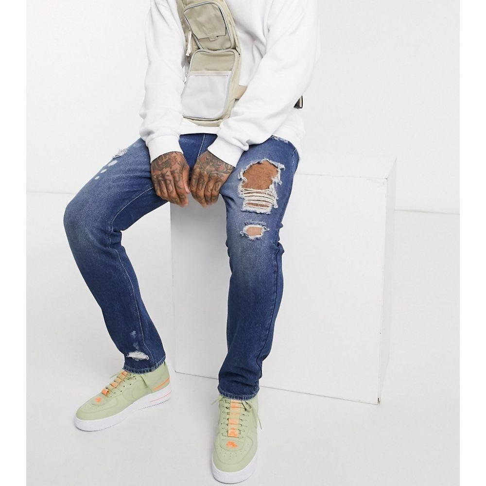 エイソス ASOS DESIGN メンズ ジーンズ・デニム ボトムス・パンツ【drop crotch jeans in dark wash blue with heavy rips】Dark wash blue
