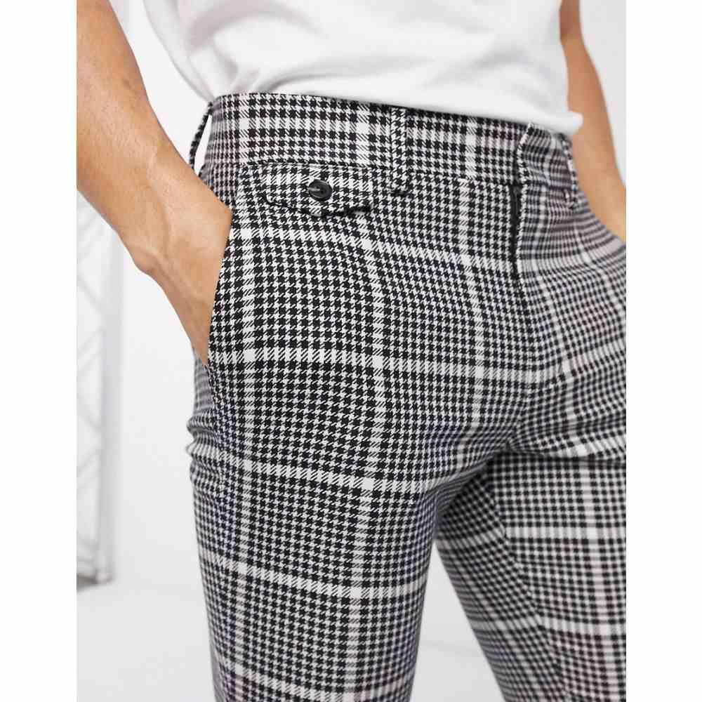 エイソス ASOS DESIGN メンズ スキニー・スリム ボトムス・パンツ【smart super skinny trousers in black wool mix check and side adjusters】Black