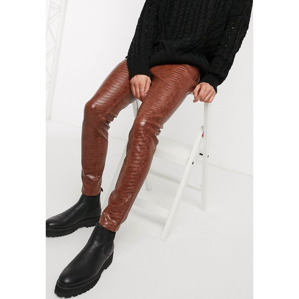 エイソス ASOS DESIGN メンズ ジーンズ・デニム ボトムス・パンツ【skinny ankle grazer jeans in leather look crocodile】Brown