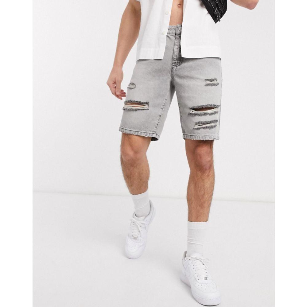 エイソス ASOS DESIGN メンズ ショートパンツ ボトムス・パンツ【rigid slim shorts in grey with rips】Grey