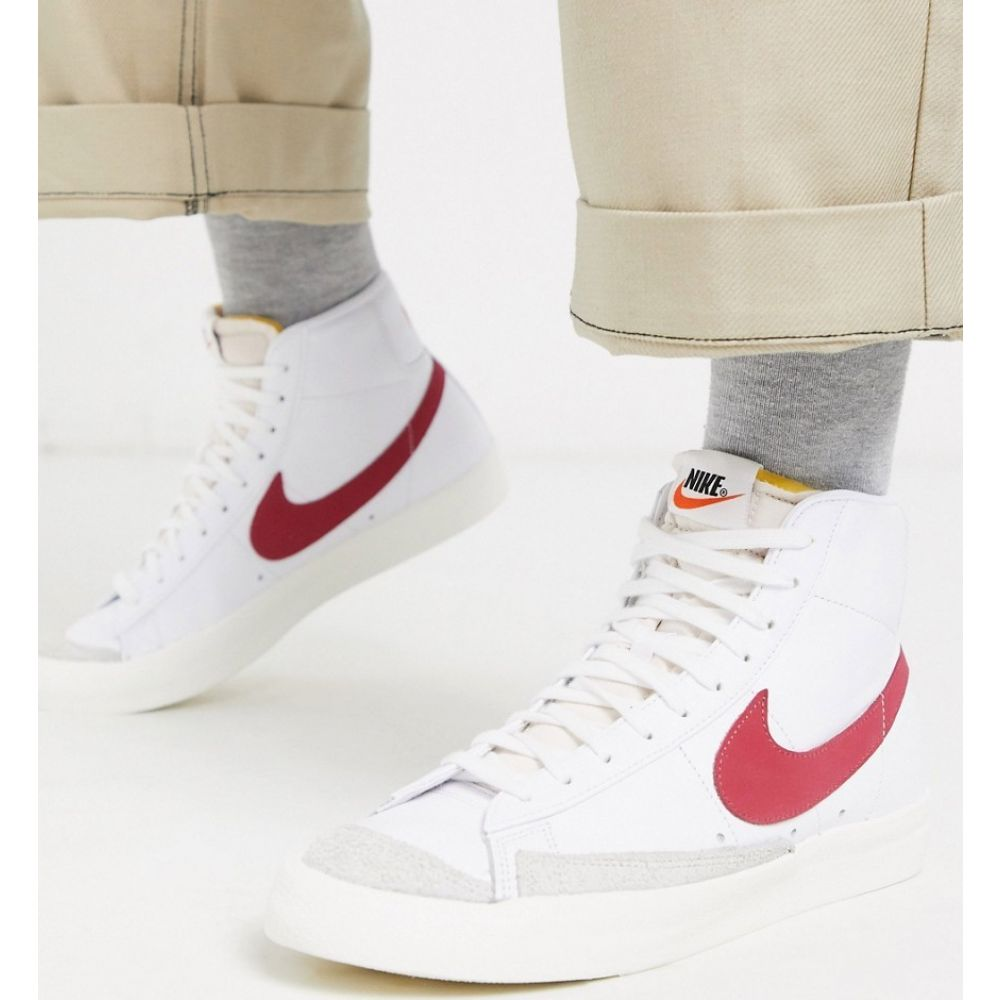ナイキ Nike メンズ スニーカー シューズ・靴【Blazer Mid '77 trainers in white/red】White/red
