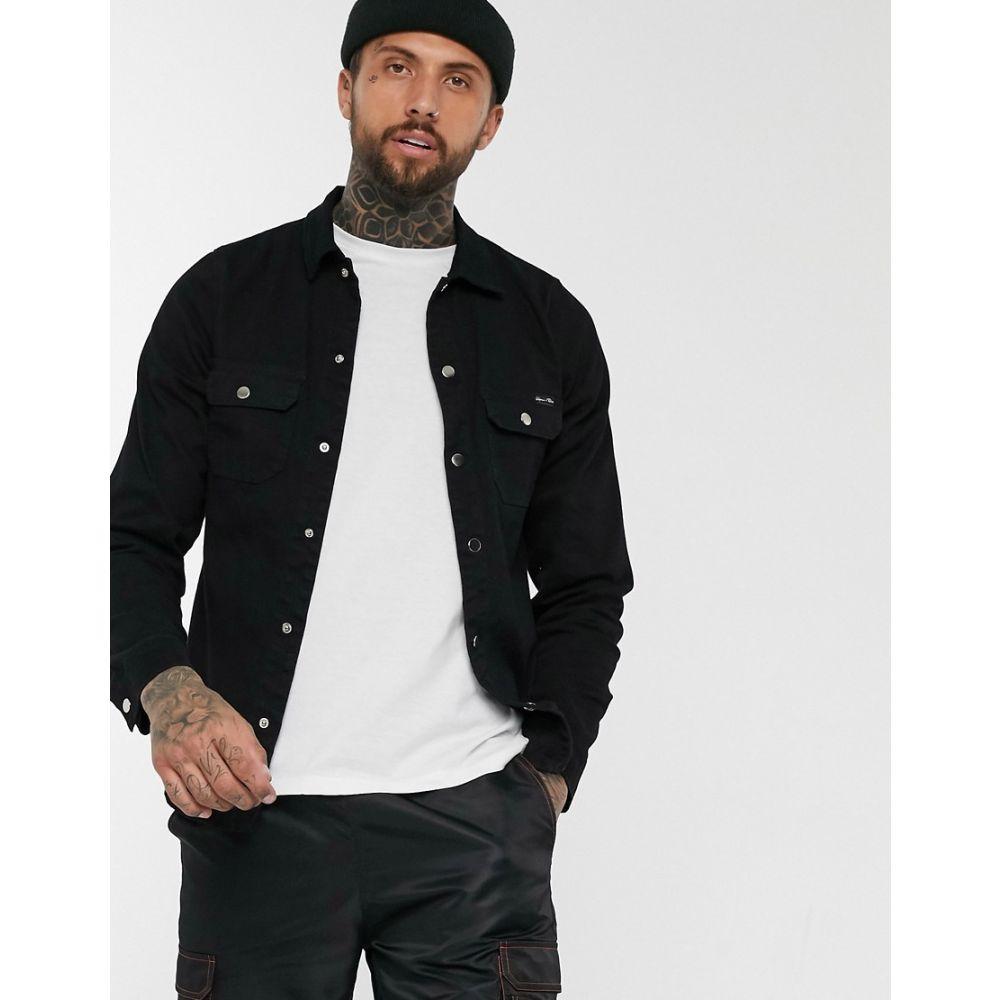 リカーアンドポーカー Liquor N Poker メンズ シャツ デニム トップス【muscle fit denim shirt in black】Black