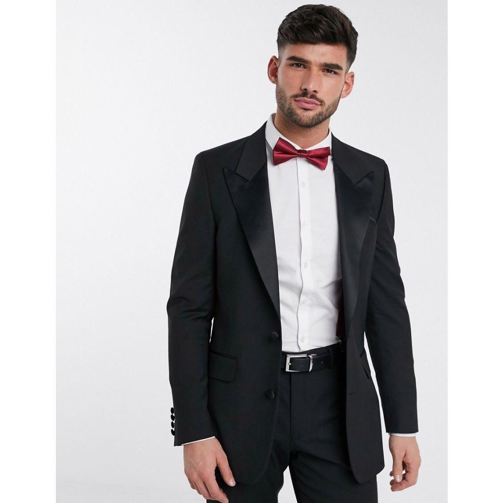 エイソス ASOS DESIGN メンズ スーツ・ジャケット タキシード アウター【slim tuxedo suit jacket in black】Black
