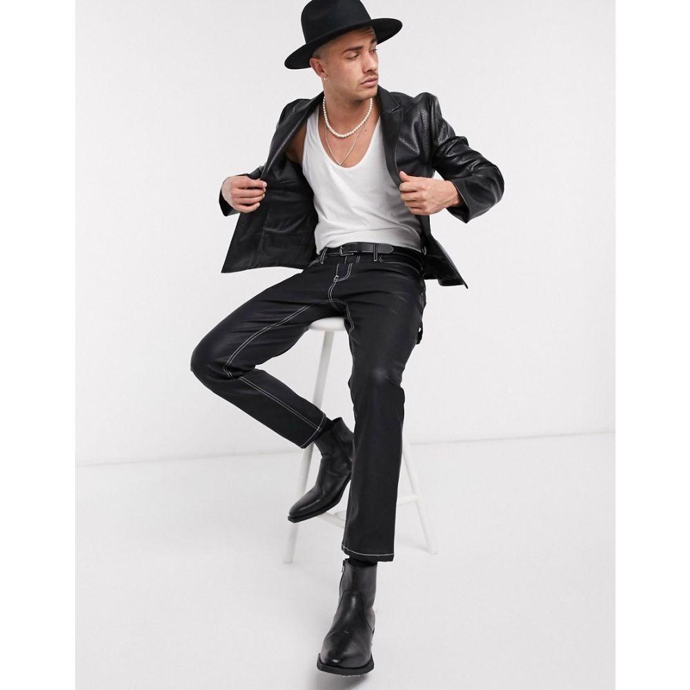 エイソス ASOS DESIGN メンズ スーツ・ジャケット アウター【skinny blazer in black faux leather】Black