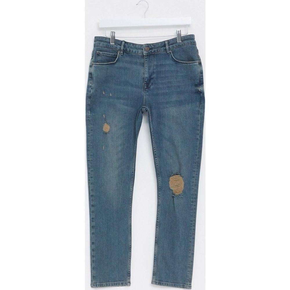 エイソス ASOS DESIGN メンズ ジーンズ・デニム ボトムス・パンツ【cropped super skinny jeans in vintage dark wash blue with mid rips】Dark wash blue