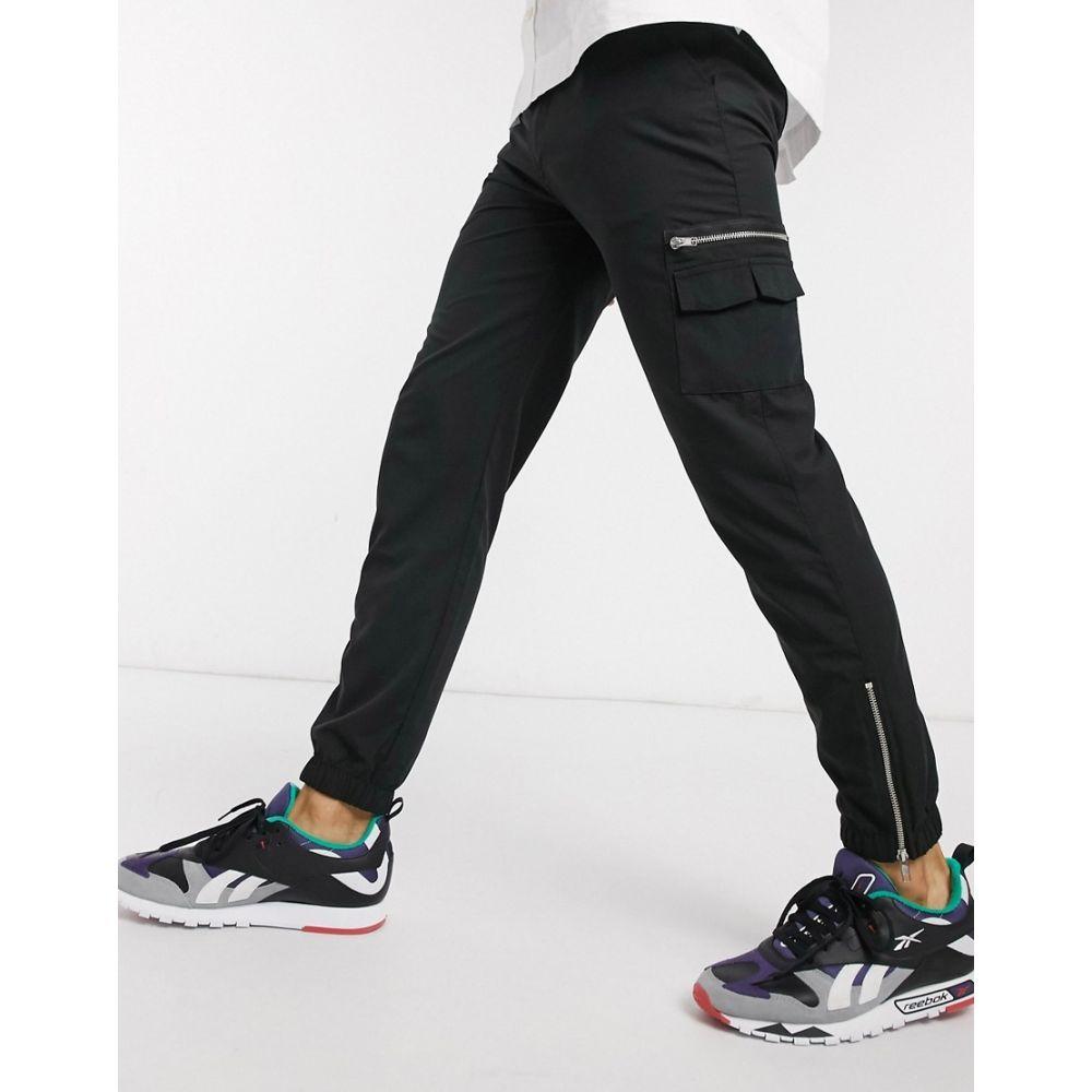 エイソス ASOS DESIGN メンズ ジョガーパンツ ボトムス・パンツ【slim joggers with MA1 pocket & zip pockets】Black