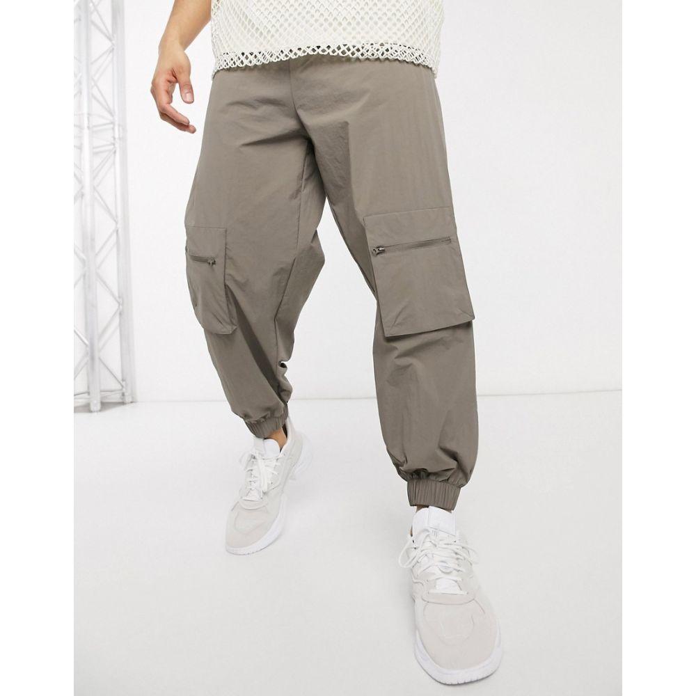 エイソス ASOS DESIGN メンズ ジョガーパンツ ボトムス・パンツ【nylon joggers with zip pockets】Grey