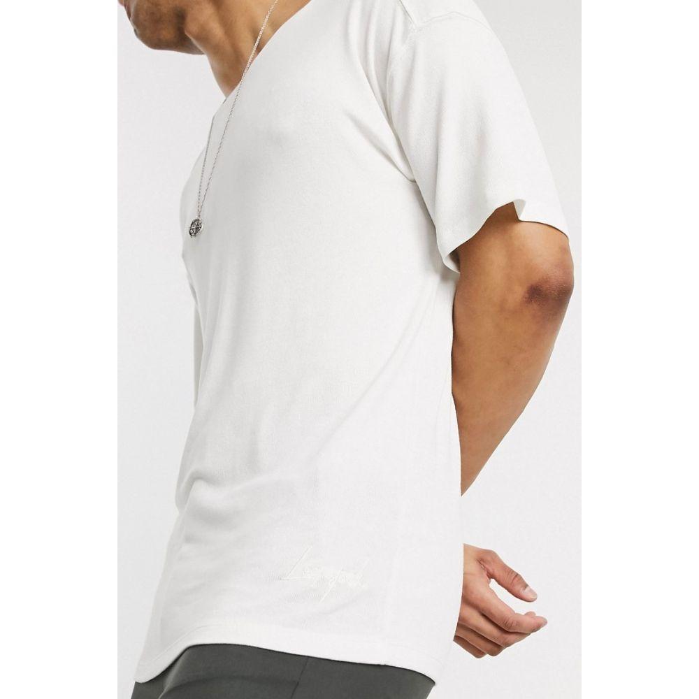 ロックストック Lockstock メンズ Tシャツ ドロップショルダー トップス【box fit t-shirt with dropped shoulder in white】White