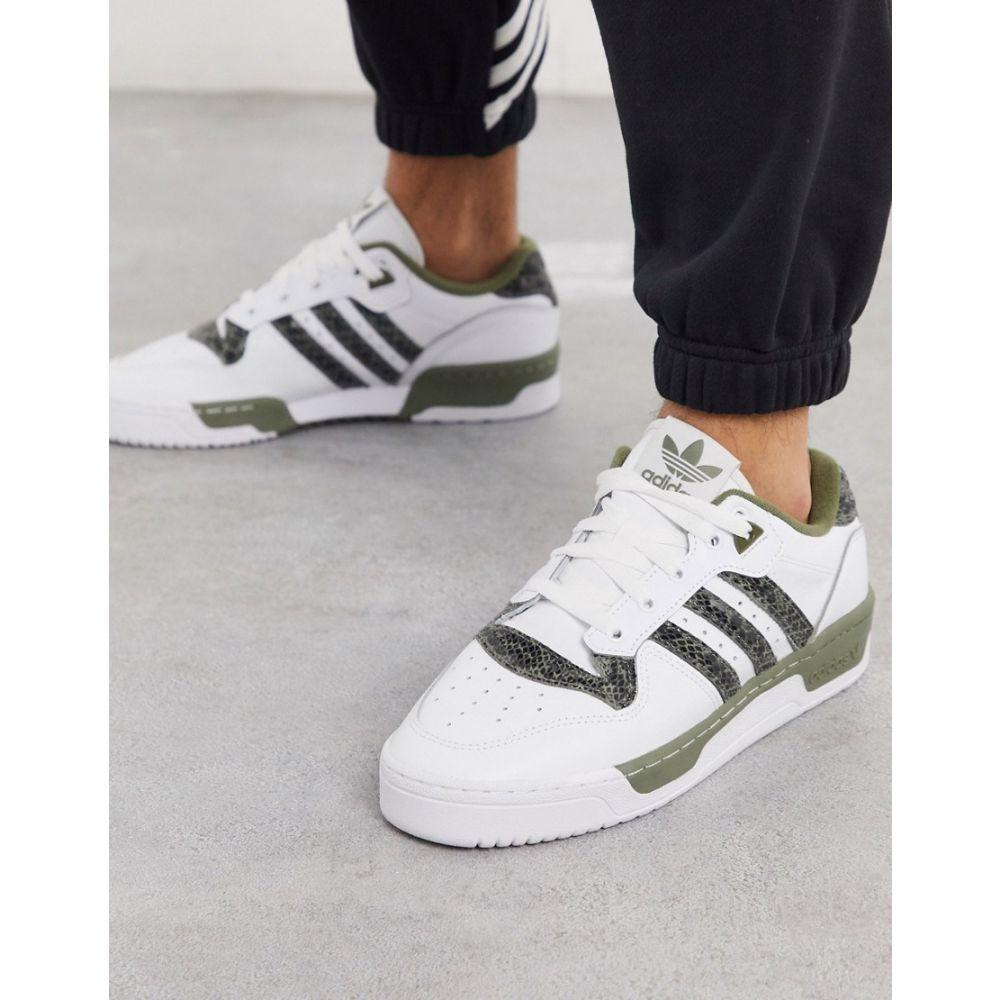 アディダス adidas Originals メンズ スニーカー シューズ・靴【Rivalry low trainers with snakeskin in white and khaki】White