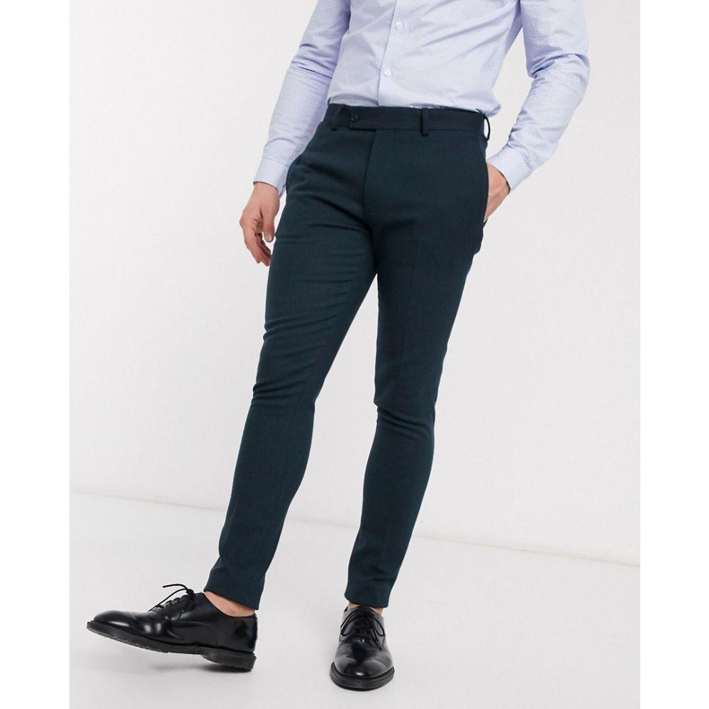 エイソス ASOS DESIGN メンズ スラックス ボトムス・パンツ【wedding super skinny suit trousers in dark green wool blend twill】Green