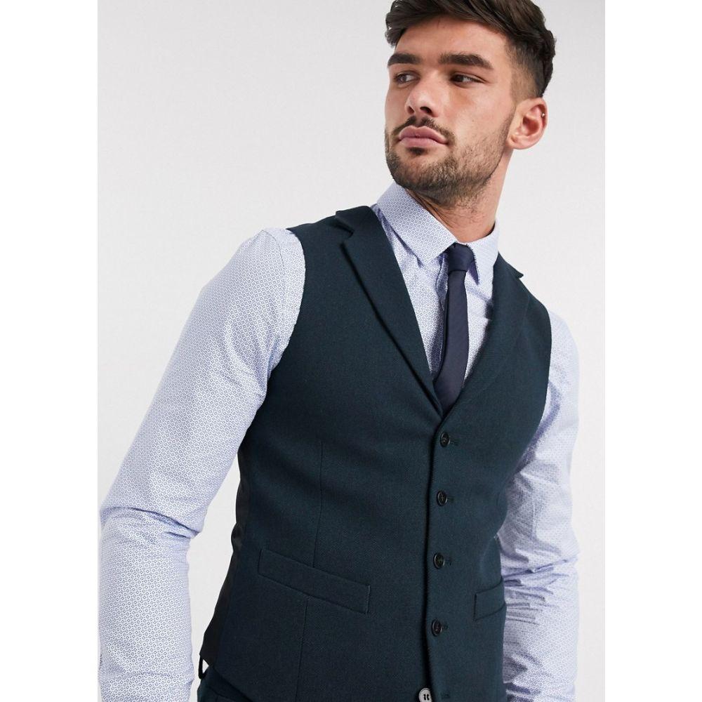 エイソス ASOS DESIGN メンズ ベスト・ジレ トップス【wedding super skinny suit waistcoat in dark green wool blend twill】Green