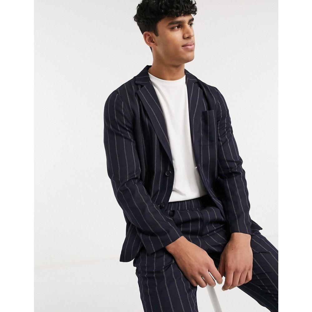 エイソス ASOS DESIGN メンズ スーツ・ジャケット アウター【co-ord slim casual blazer with navy pinstripe】Navy