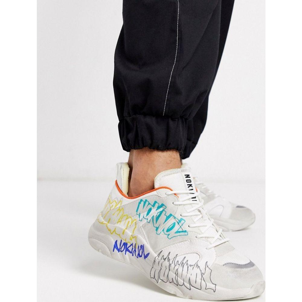 Nokwol メンズ スニーカー チャンキーヒール シューズ・靴【lunger graffiti chunky trainers in white】White
