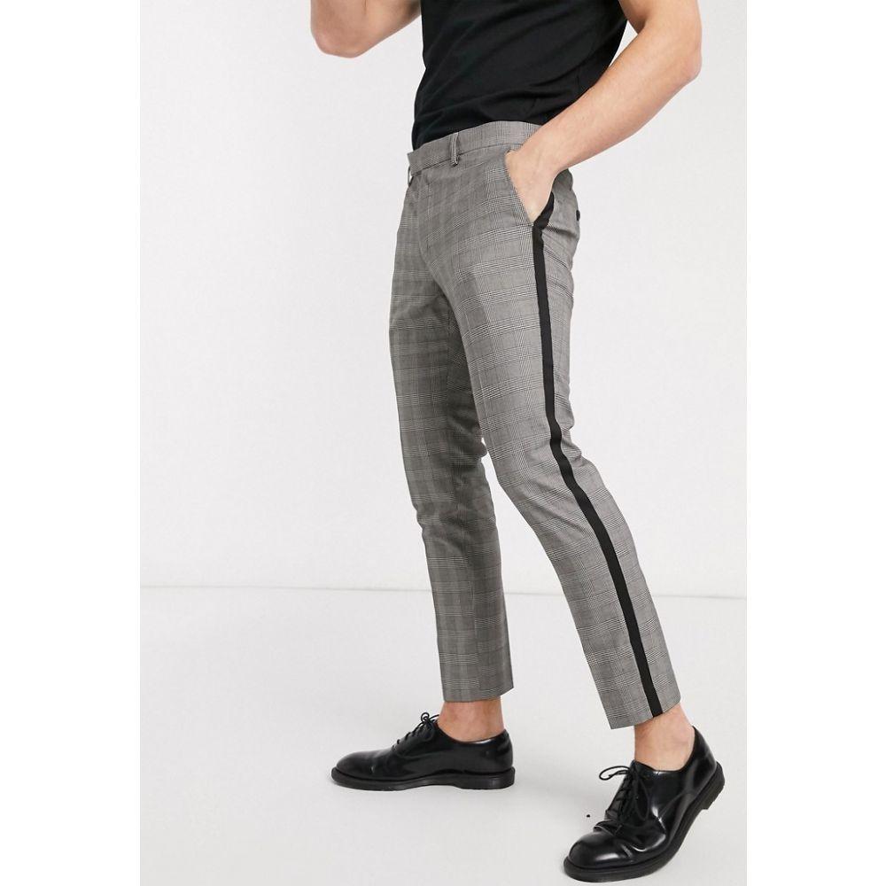 モス ブラザーズ MOSS BROS メンズ クロップド ボトムス・パンツ【Moss London cropped checked trousers with black side stripe】Grey