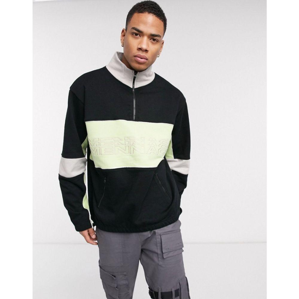 メンナス Mennace メンズ スウェット・トレーナー トップス【half zip overhead sweatshirt with repeat logo in black】Black