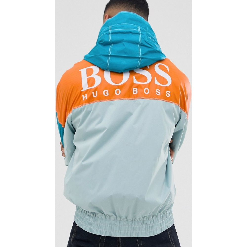 ヒューゴ ボス BOSS メンズ ジャケット フード アウター【Oretto colour block back logo ripstop hooded jacket in light green】Light green