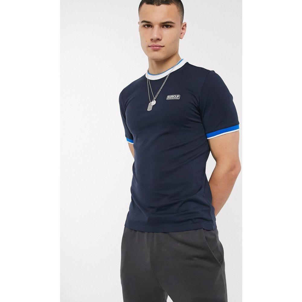 バブアー Barbour International メンズ Tシャツ トップス【Filter tipped t-shirt in navy】Navy