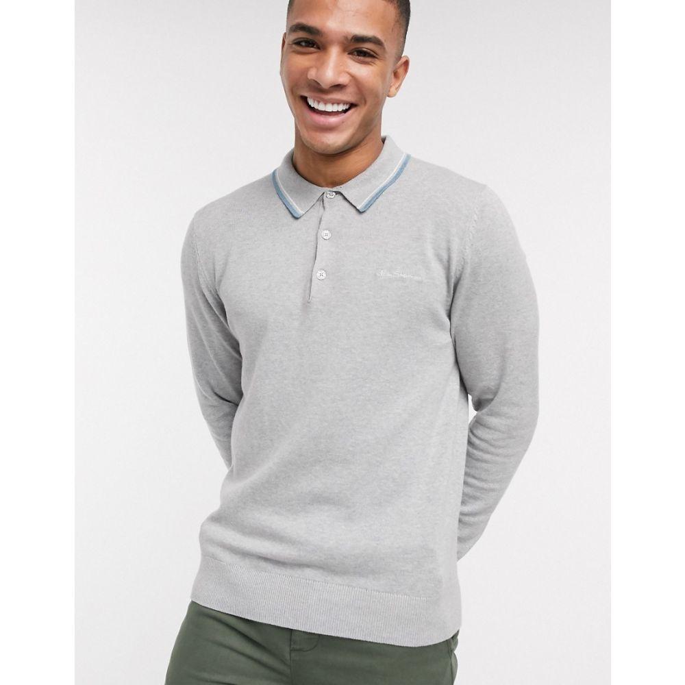 ベンシャーマン Ben Sherman メンズ ポロシャツ トップス【knitted long sleeve polo shirt】Grey