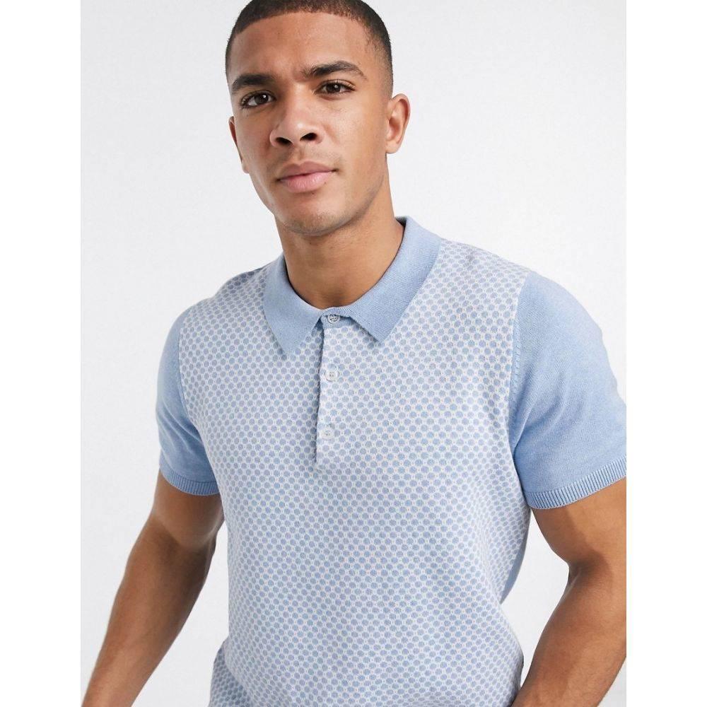 ベンシャーマン Ben Sherman メンズ ポロシャツ トップス【knitted geometric polo shirt】Blue