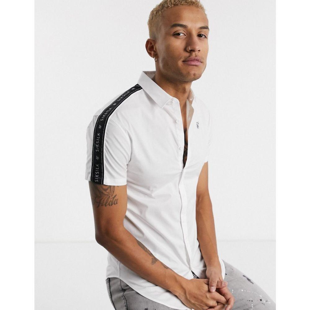 シックシルク SikSilk メンズ 半袖シャツ トップス【short sleeve shirt in white with logo taping】White