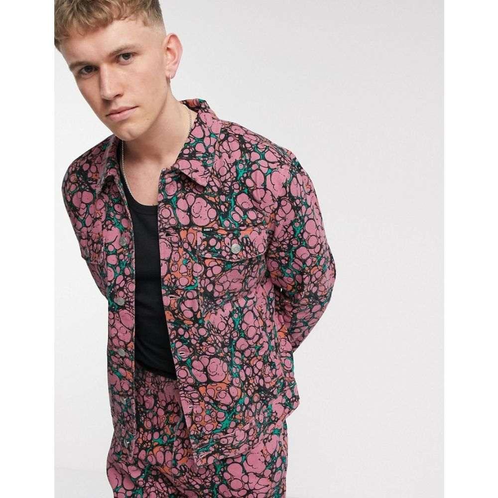 オベイ Obey メンズ ジャケット Gジャン アウター【Botch all-over print denim jacket in coral multi】Dark coral multi