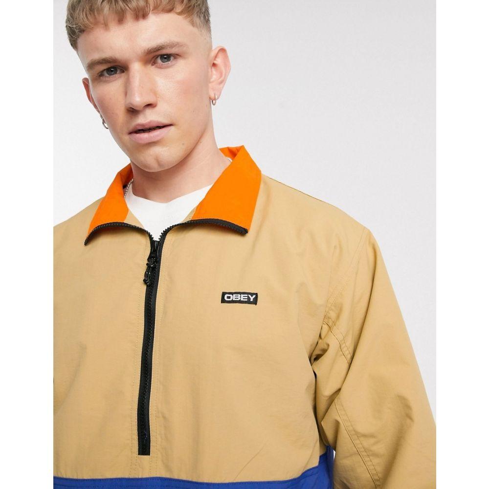 オベイ Obey メンズ ジャケット アウター【Tucker half-zip jacket in stone/navy】Almond multi