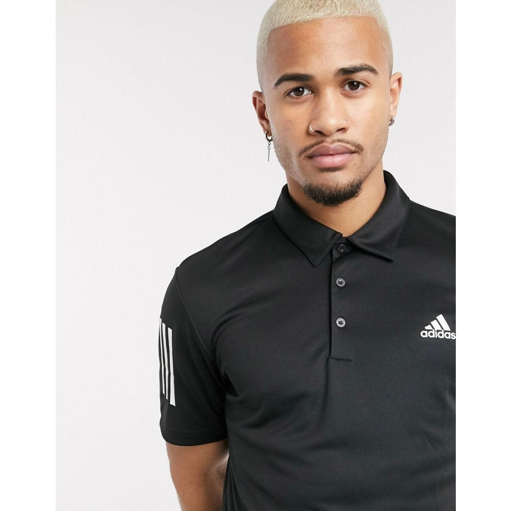 アディダス adidas Golf メンズ ポロシャツ トップス【adidas golf 3 stripe polo shirt in black】Black