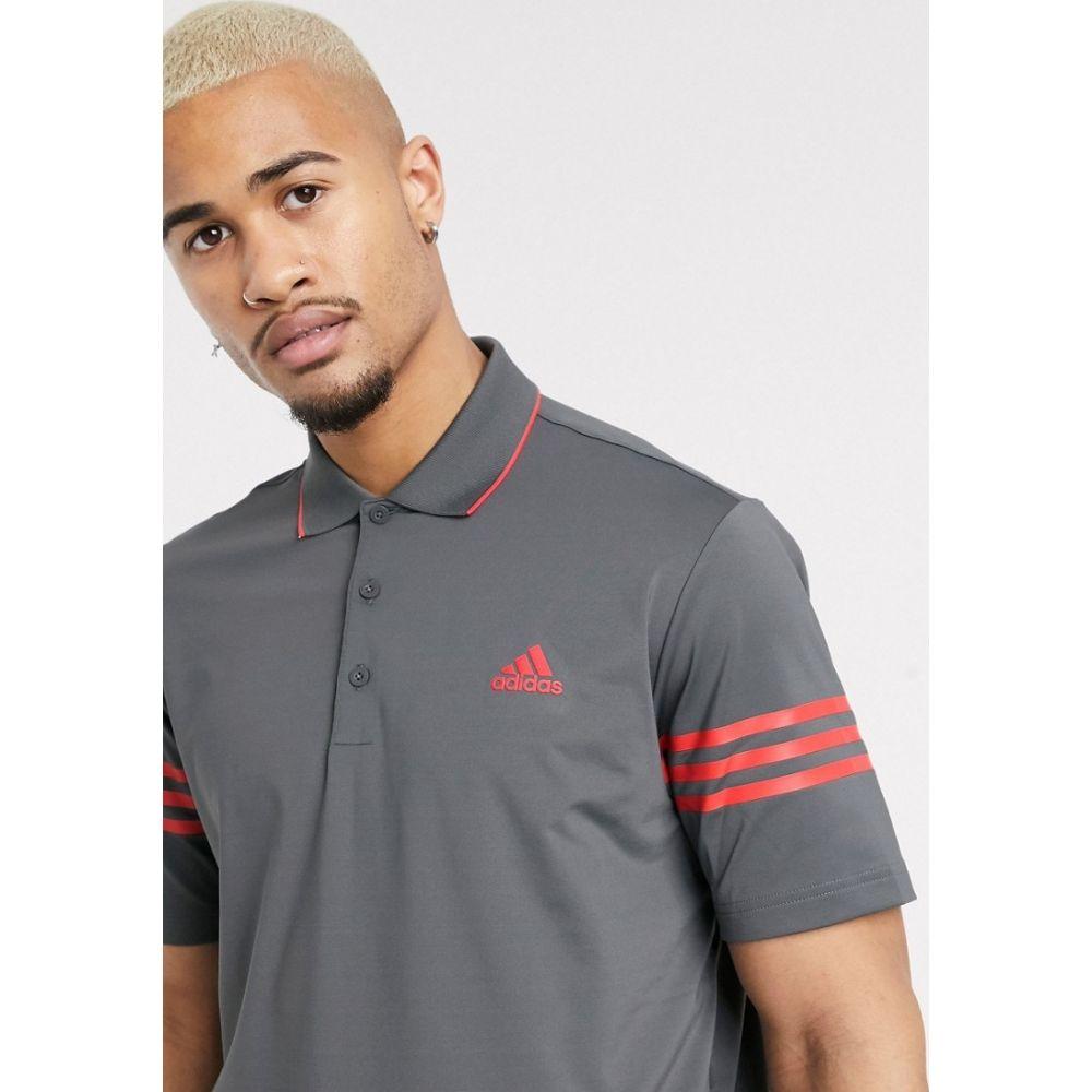 アディダス adidas Golf メンズ ポロシャツ トップス【adidas golf 365 3 stripe sleeve polo shirt in black and red】Black