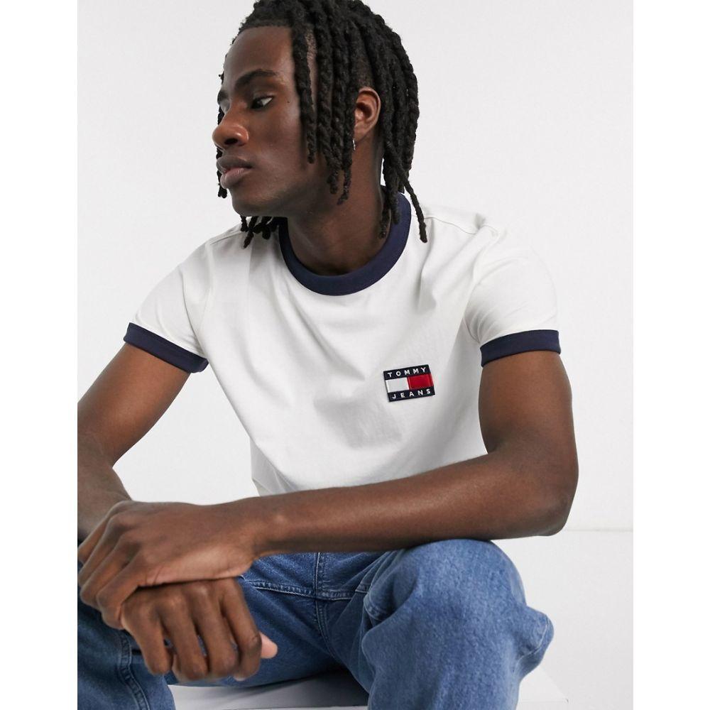 トミー ジーンズ Tommy Jeans メンズ Tシャツ トップス【flag logo ringer t-shirt in white/navy】White/twilight nav