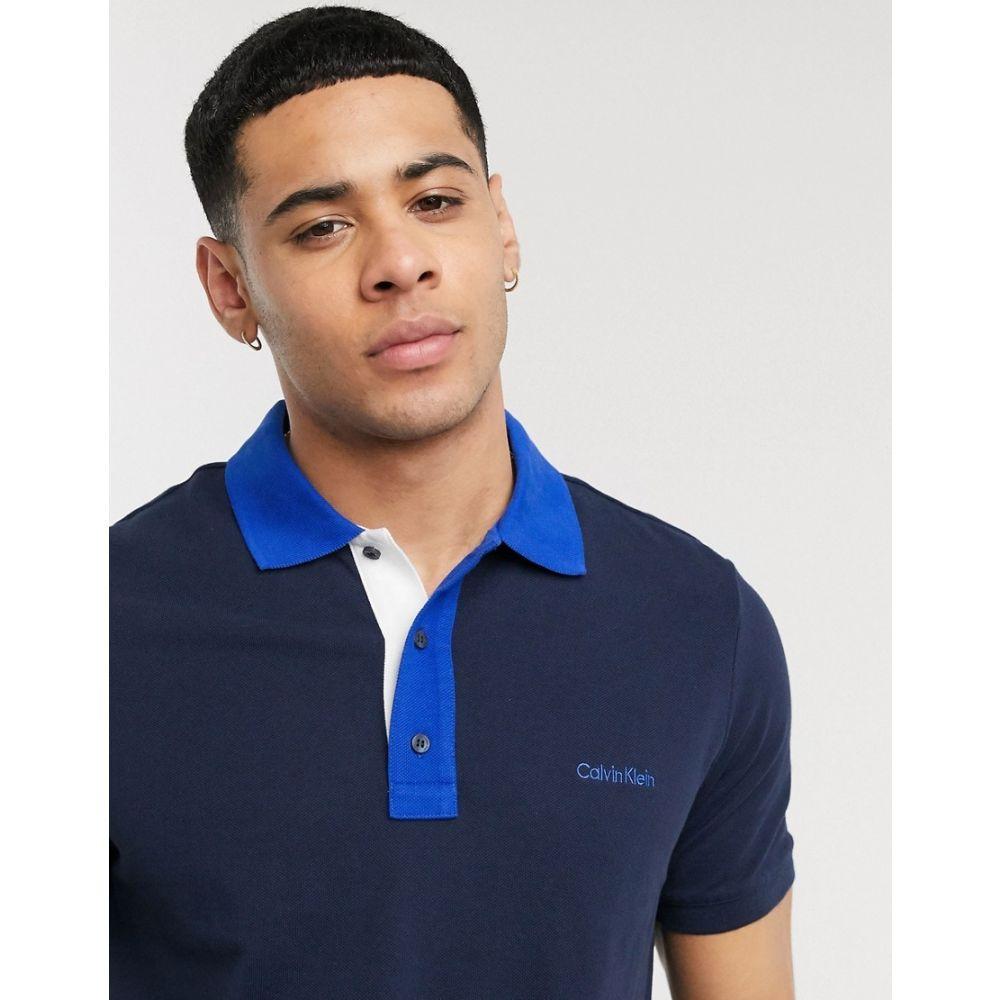カルバンクライン Calvin Klein メンズ ポロシャツ トップス【contrast collar pique polo shirt】Navy