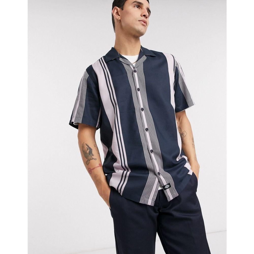 ディッキーズ Dickies メンズ 半袖シャツ トップス【Forest Park short sleeve stripe shirt in blue】Dark blue