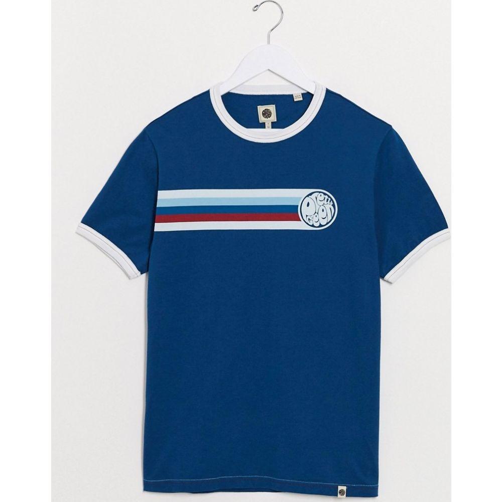 プリティー グリーン Pretty Green メンズ Tシャツ トップス【stripe detail logo t-shirt in navy】Navy