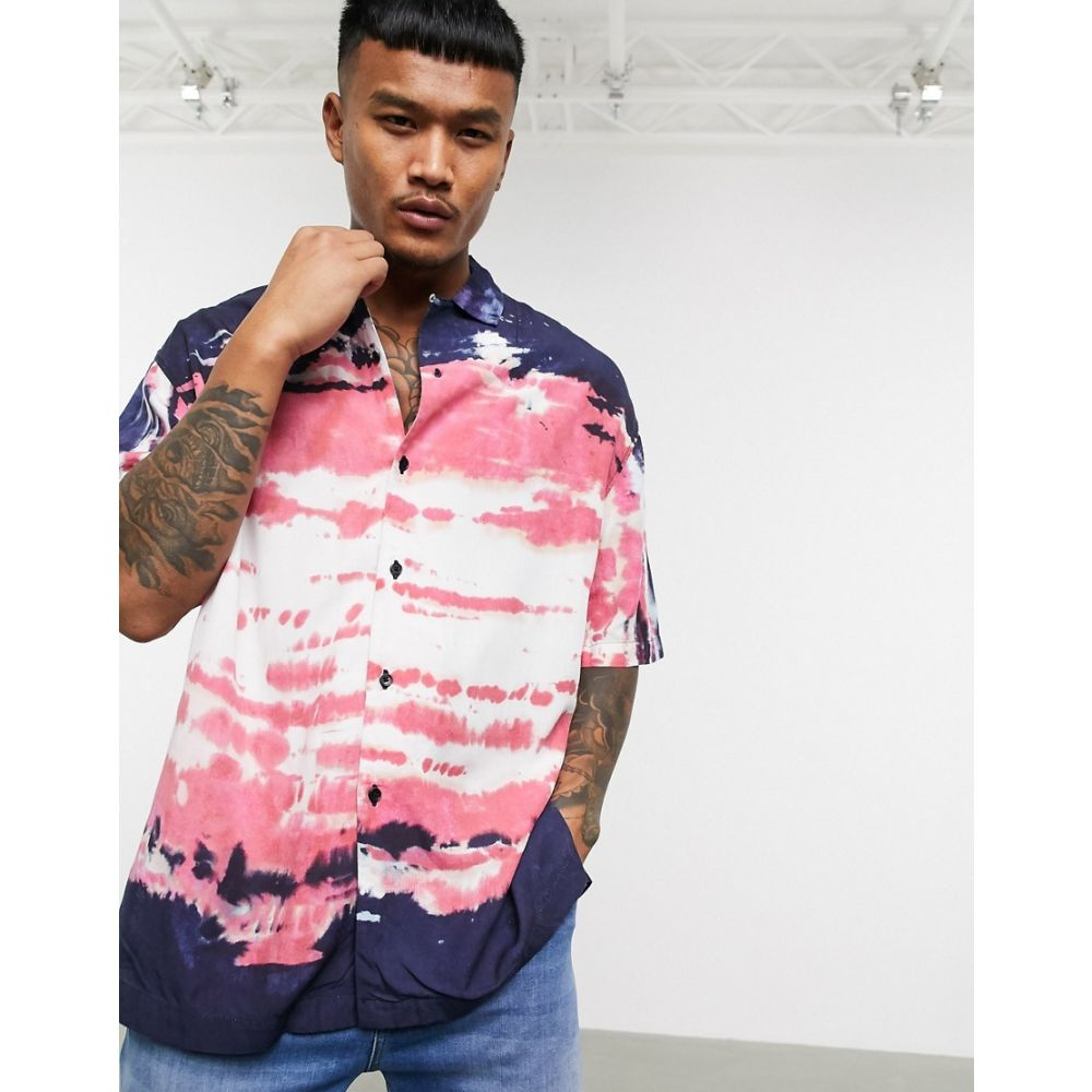 レリジョン Religion メンズ 半袖シャツ トップス【revere collar oil dye print short sleeve shirt in navy】Navy