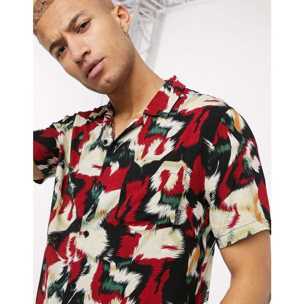 レリジョン Religion メンズ 半袖シャツ トップス【revere collar all over print short sleeve shirt in red】Red