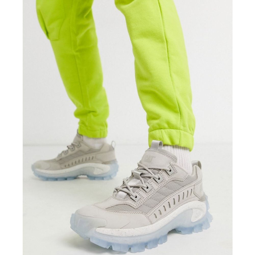 キャットフットウェア Cat Footwear メンズ スニーカー チャンキーヒール シューズ・靴【Caterpillar intruder chunky transparent sole trainers in grey】Grey