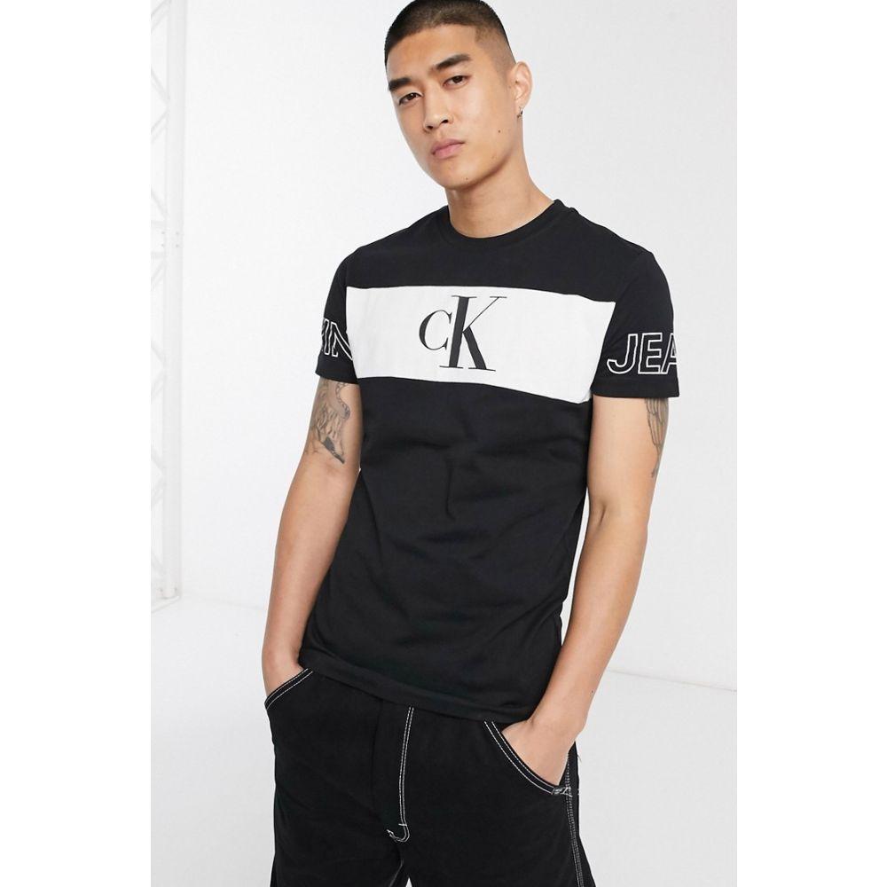 カルバンクライン Calvin Klein Jeans メンズ Tシャツ トップス【blocking statement slim fit t-shirt in black】Ck black