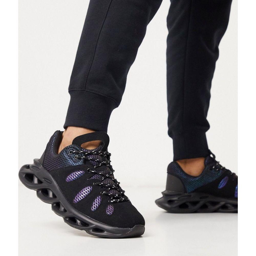 ブーフー boohooMAN メンズ スニーカー チャンキーヒール シューズ・靴【iridescent mesh chunky sole trainer in black】Black