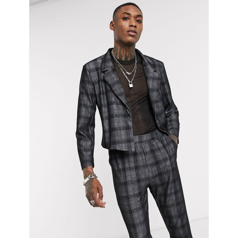 ワンアバーブアナザー One Above Another メンズ スーツ・ジャケット アウター【cropped blazer in dark grey check】Dark grey