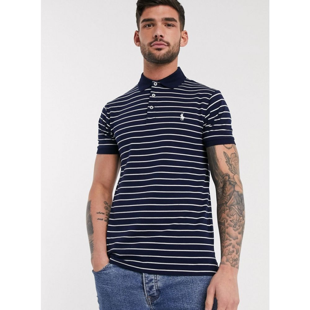 ラルフ ローレン Polo Ralph Lauren メンズ ポロシャツ トップス【slim fit pique polo in navy stripe with player logo】French navy/white