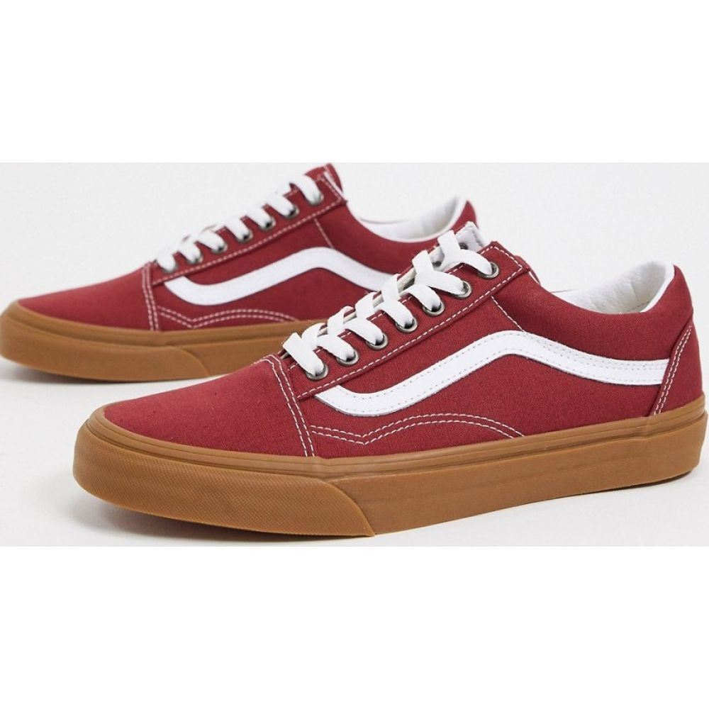 ヴァンズ Vans メンズ スニーカー シューズ・靴【Old Skool trainer with gum sole in red】Gum rosewoodtrue